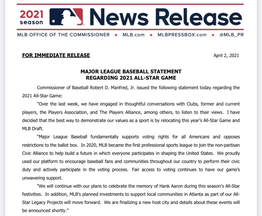 美国职业棒球大联盟声明