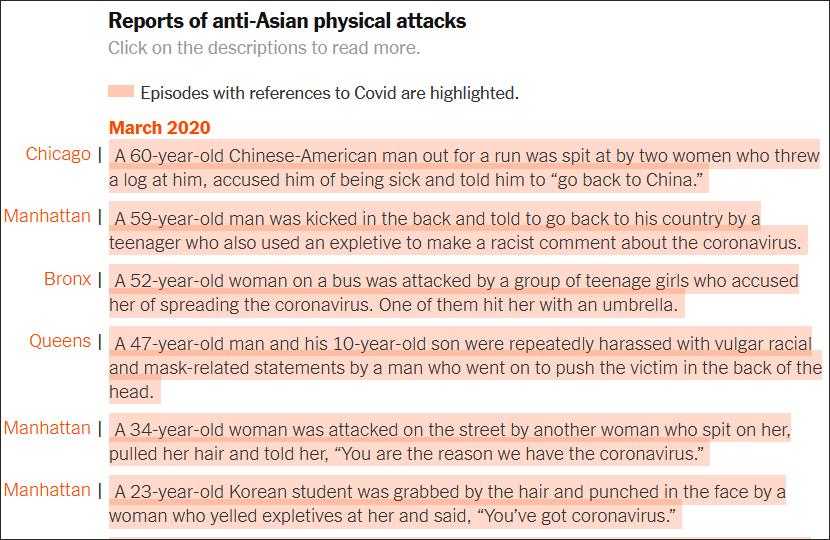 《纽约时报》为每一条亚裔受袭记录都附上了报道链接