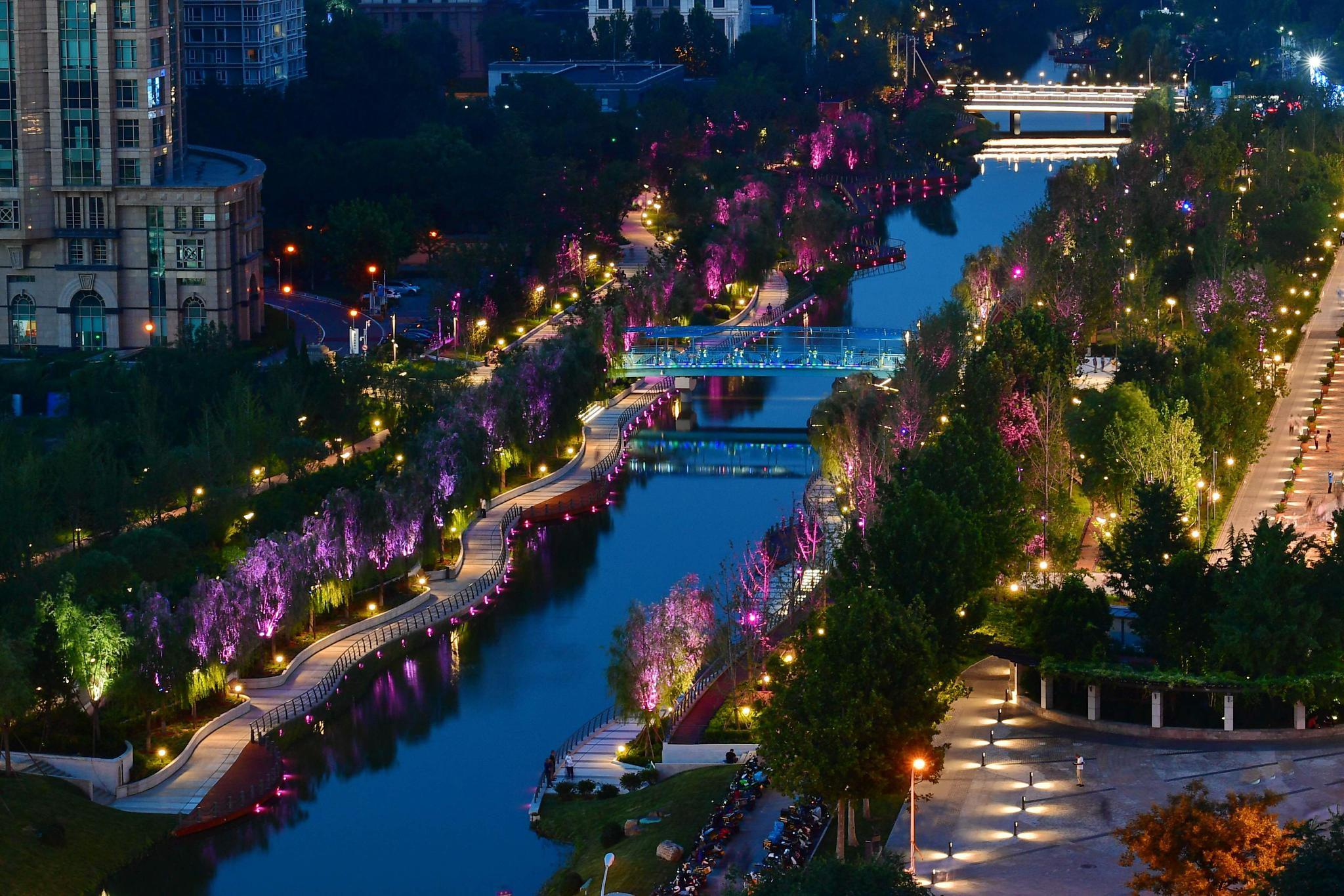 北京亮马河改造两处跨河桥,未来东三环至朝阳公园将能通船