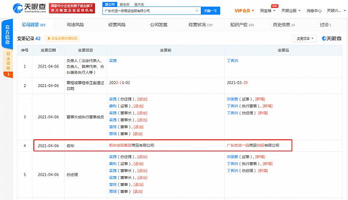 顺丰控股集团商贸有限公司更名广东优选一品商贸控股有限公司