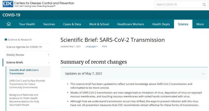 改口了,美疾控中心更新新冠病毒传播方式指引