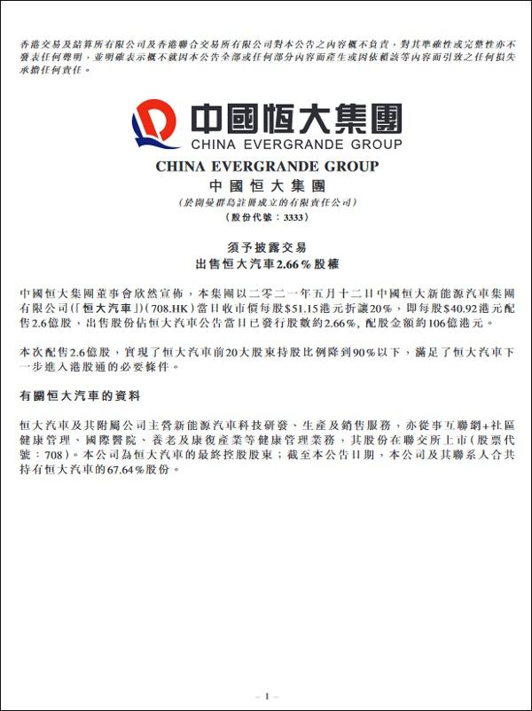 中国恒大:拟出售恒大汽车2.66%的股权,配股金额约106亿港元