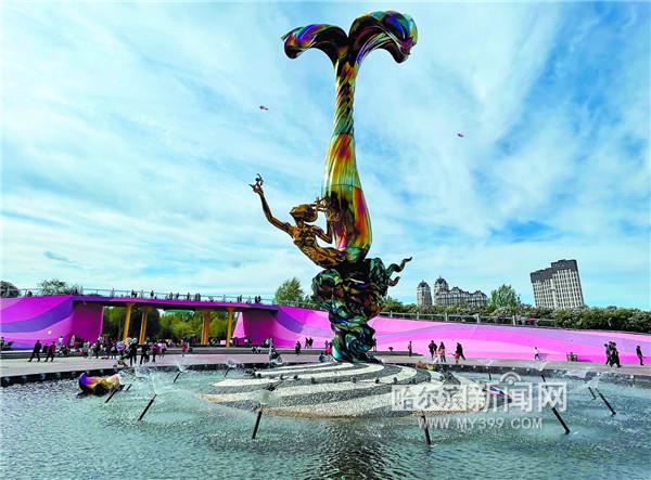 丁香公园喷泉送清凉