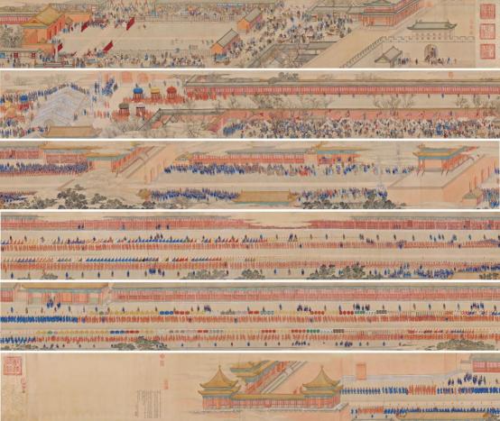 徐扬平定西域献俘礼图卷   手卷 设色纸本 43×1865cm   (保利拍卖供图)