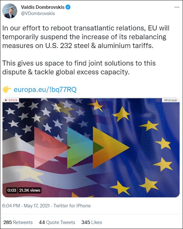 欧盟委员会执行副主席东布罗夫斯基斯推文截图