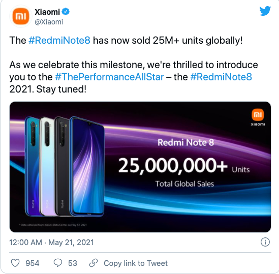 小米海外将推 Redmi Note 8 2021 手机