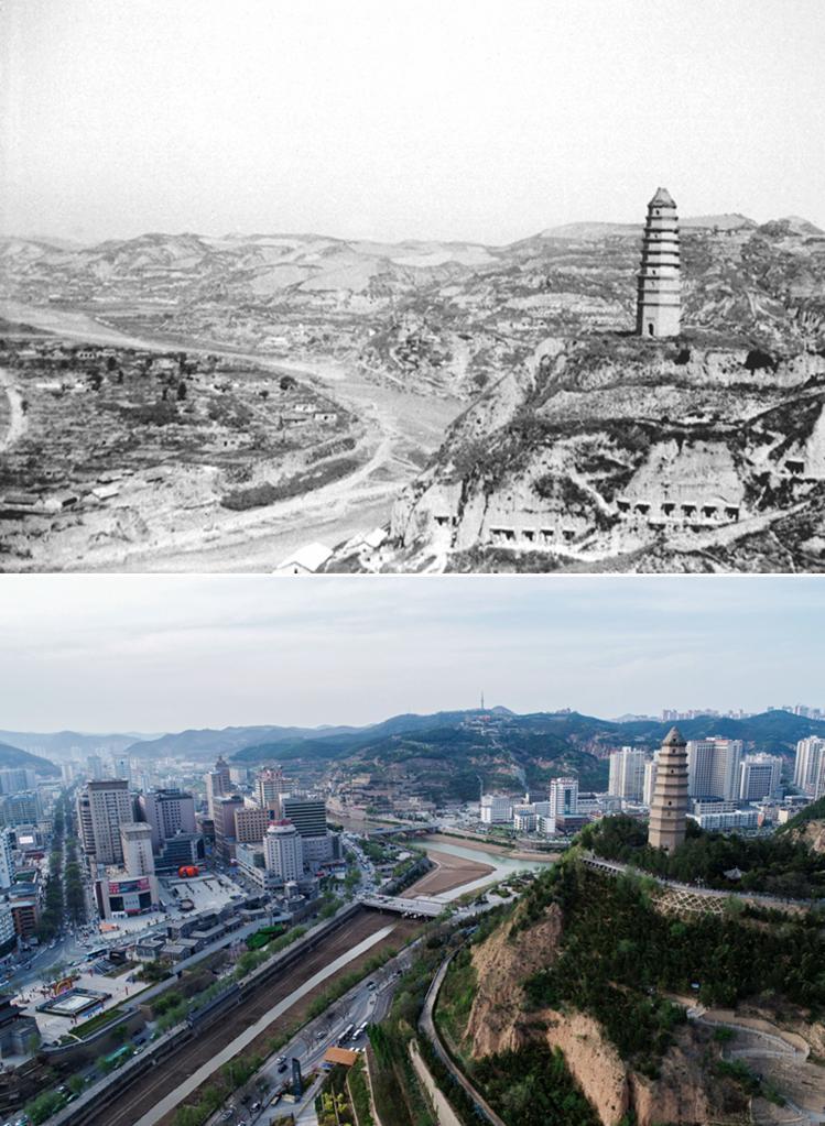 这是一张拼版照片,上图为:1938年拍摄的延安(资料照片,新华社发);下图为:2021年4月22日拍摄的延安市(无人机照片,新华社记者张博文摄)。新华社发