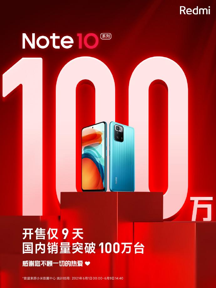 9天破百万!红米Note 10销量公布:高刷+大电池方向对了