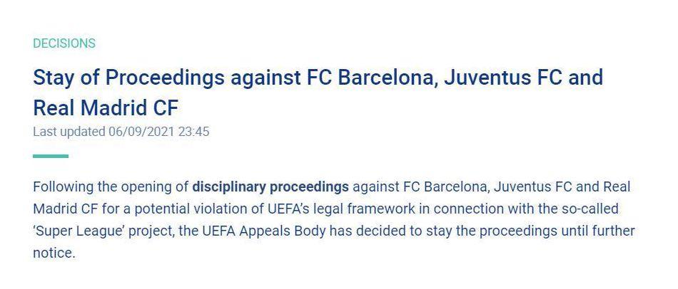 欧足联暂停对皇马、巴萨、尤文的处罚程序。网络截图