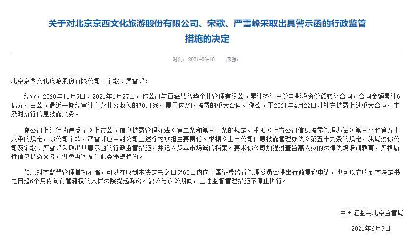 涉6亿元影片转让合同未及时披露 北京文化及董事长、总裁被开具警示函