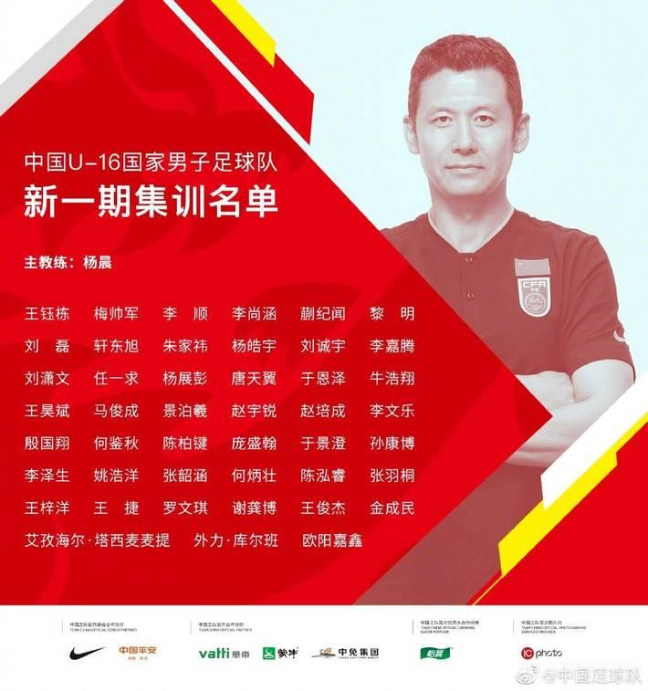 中国U16公布新一期集训名单:黎明、张韶涵在列