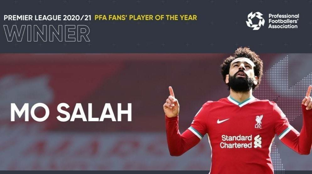 官方:萨拉赫被球迷选为PFA英超联赛年度最佳