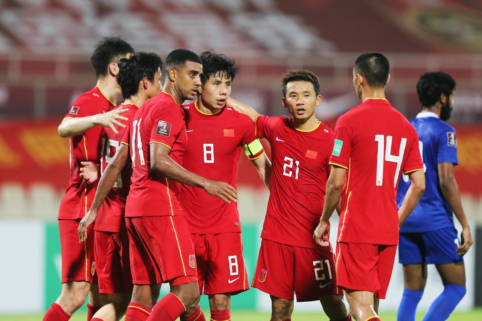 世预赛国足5比0马尔代夫获三连胜