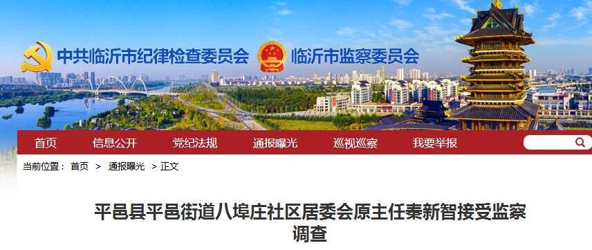 临沂市平邑县一社区居委会原主任接受监察调查