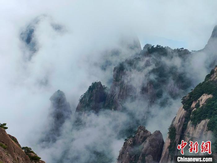 端午假期首日:安徽黄山云雾缥缈迎客来