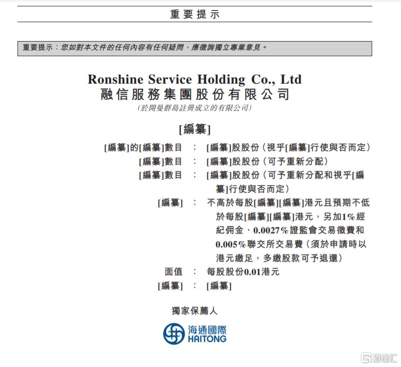 中国物业服务百强企业第19强 融信服务通过聆讯