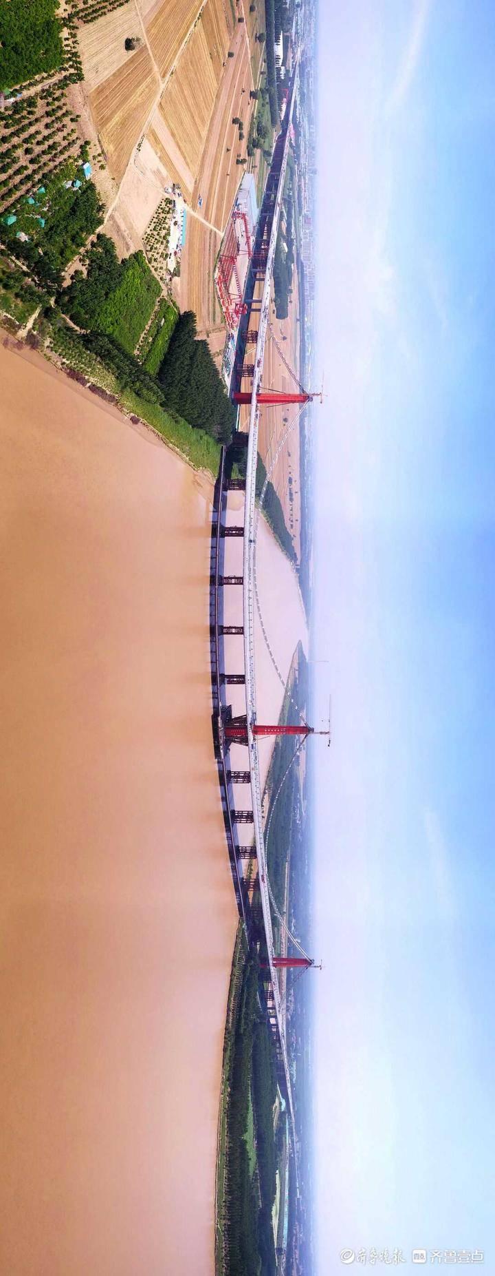距离通车不远了,济南凤凰黄河大桥全景图太壮观