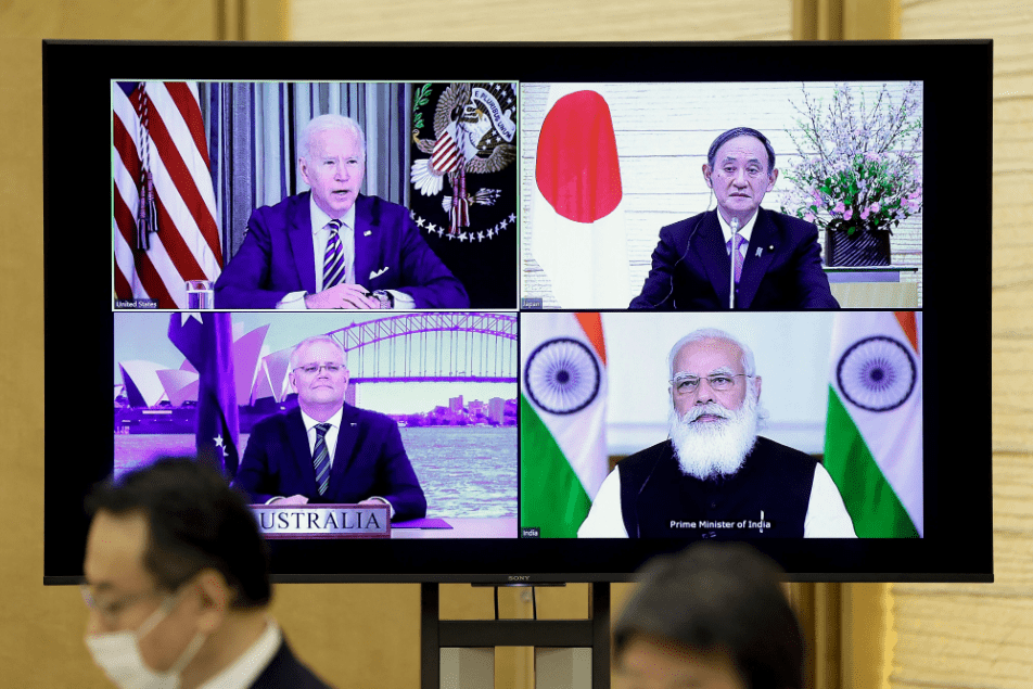 On March 12, 2021, the first summit of the US, Japan, India, and Australia of the Four Sides Mechanism (data picture)