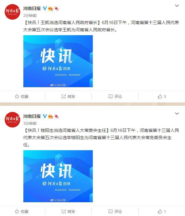 楼阳生当选河南省人大常委会主任,王凯当选河南省长