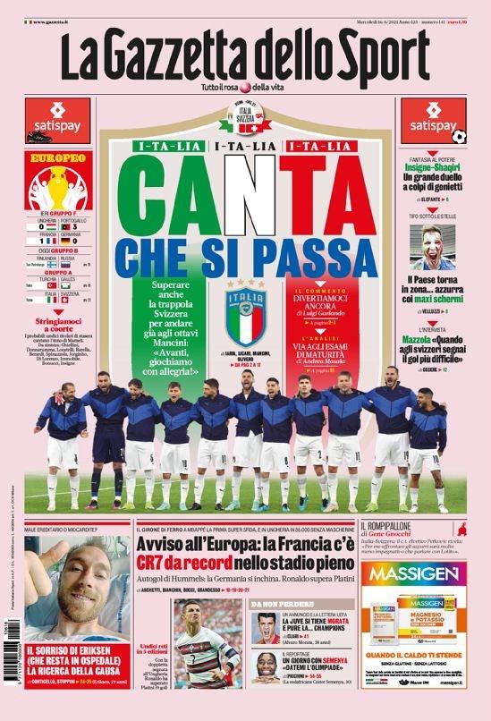 意甲今日头版:意大利要快乐地赢球 C罗梅开二度破纪录