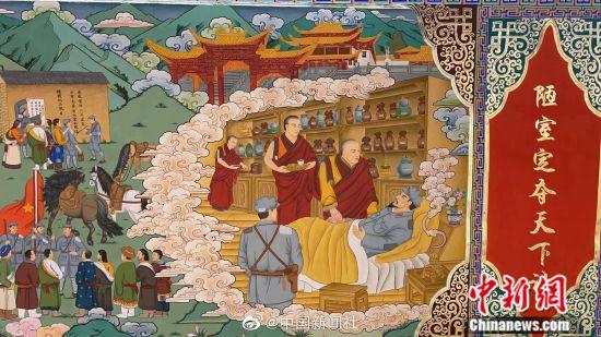 画师创作百米红色文化主题巨幅唐卡