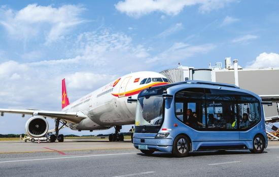 """""""小宇""""进驻长沙黄花国际机场 坐飞机之前先尝鲜无人驾驶巴士"""