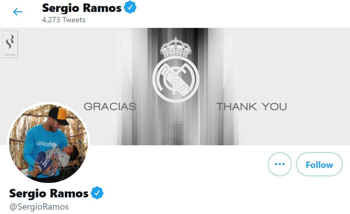 拉莫斯更新社交媒体封面:谢谢你,皇马!