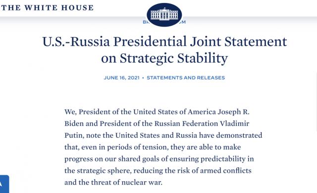 美俄发表《战略稳定联合声明》 提核战争没有胜利者