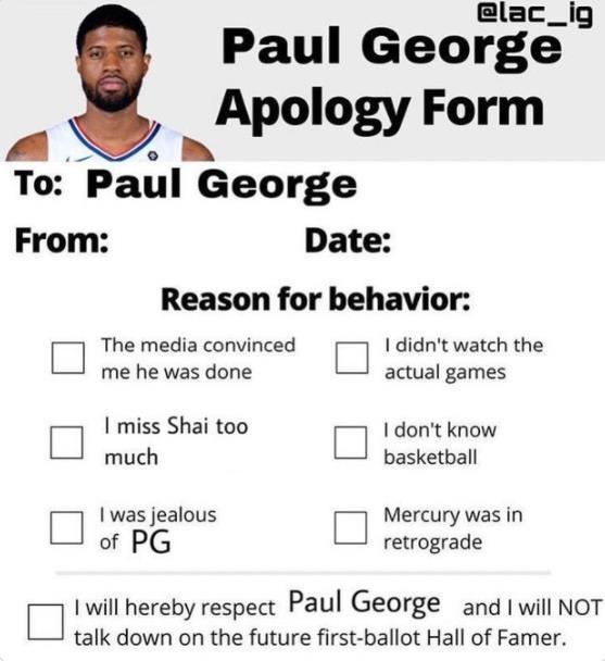 伊巴卡发推:都填一下表格啊 向乔治道歉!