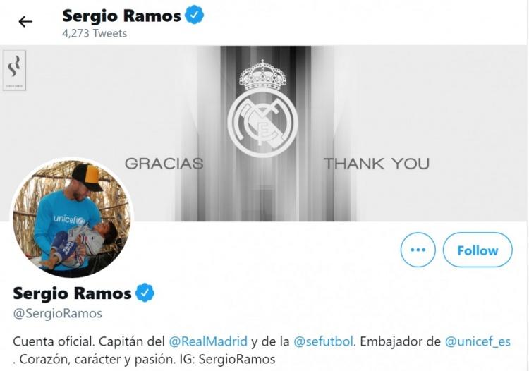 拉莫斯更新社交媒体,向皇马表示感谢