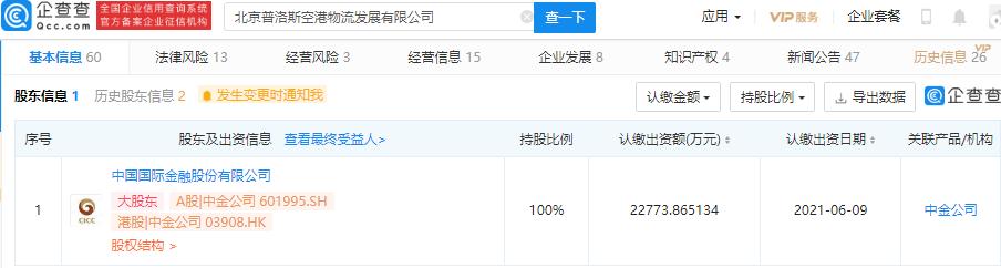 中金公司投资北京普洛斯空港物流发展有限公司,持股100%