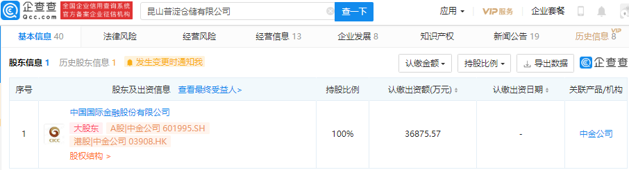 中金公司投资昆山普淀仓储公司,持股100%