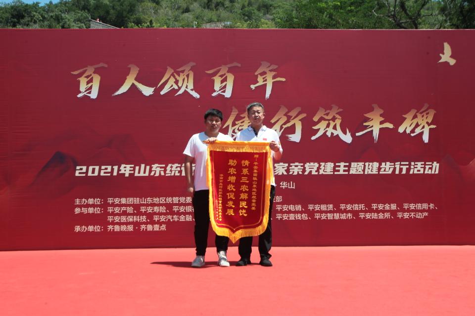 孙耿镇官庄村委会精心准备一面锦旗赠予平安集团统管党委