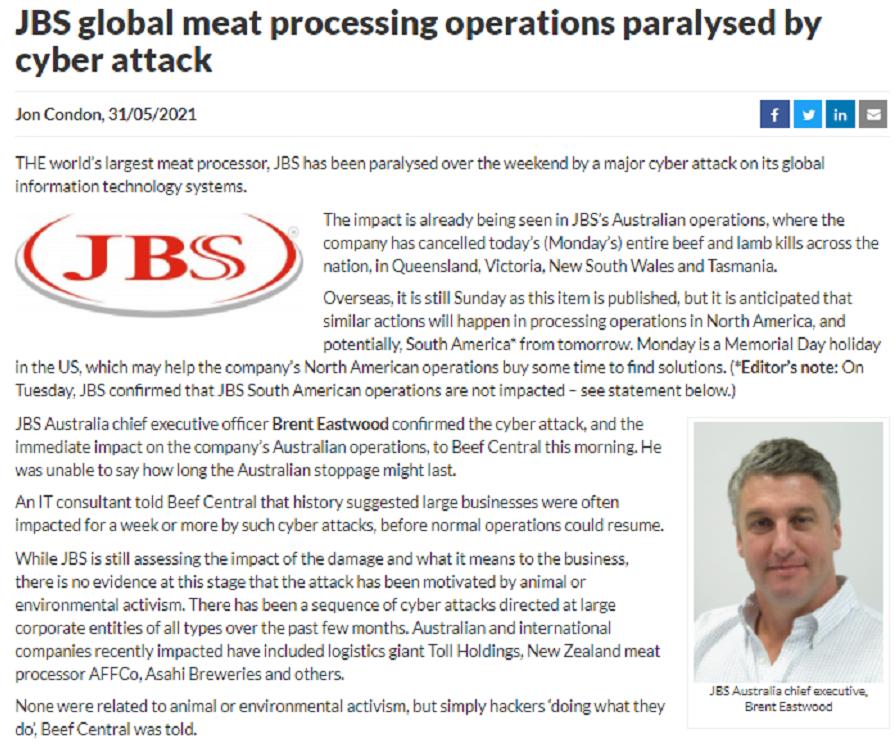 又是勒索软件?全球最大肉类供应商遭黑客攻击 多地暂停作业