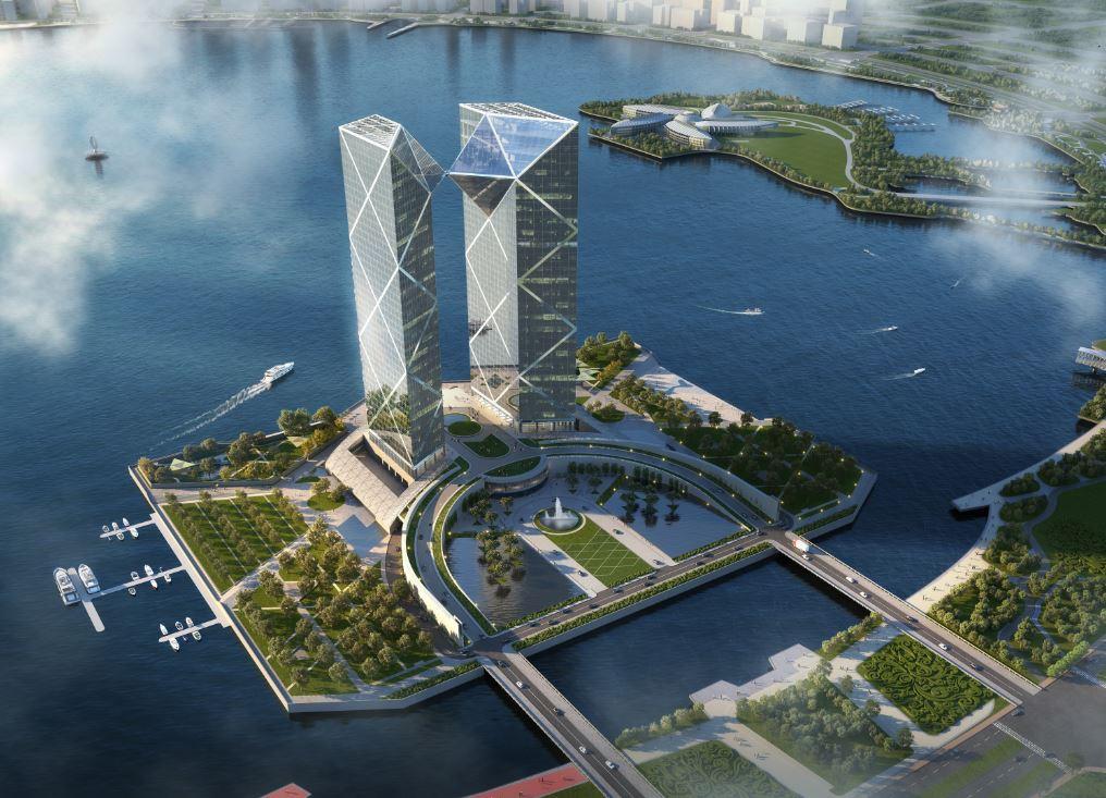 中国银行金融中心在临港开工,滴水湖西岛将崛起超高双子塔