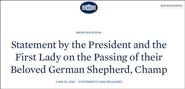拜登在白宫网站发文悼念自己的宠物狗
