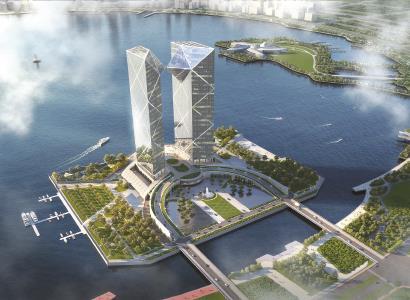 滴水湖西岛,200米高双子塔楼开工
