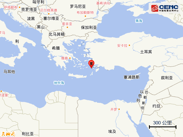 希腊佐泽卡尼索斯群岛发生5.5级地震