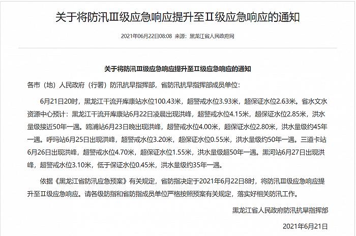 黑龙江省防汛应急响应提升至Ⅱ级