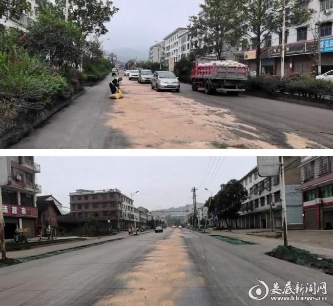 马路变油路,冷水江市公路建设养护中心快速处置
