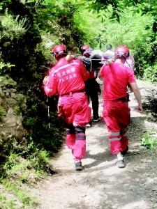 山沟里有人受伤晋豫两地联手施救