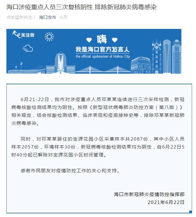 海口:涉疫重点人员邓某某三次复核阴性 排除新冠肺炎病毒感染