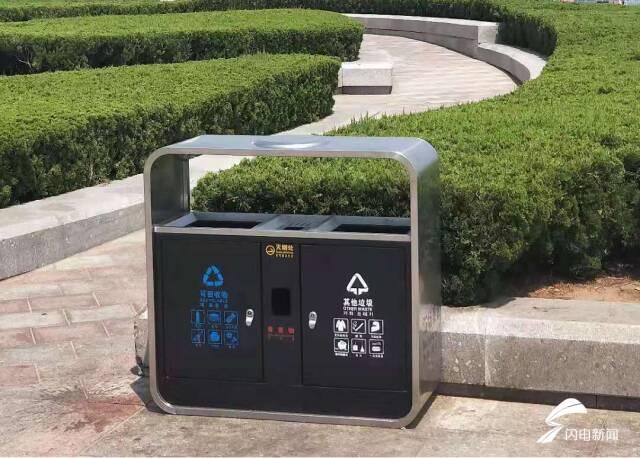 """120组新型分类果皮箱在威海海水浴场""""上岗"""""""