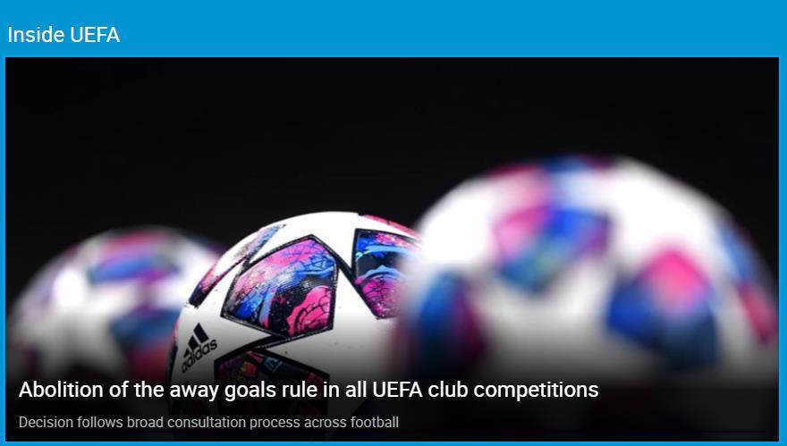 欧足联取消客场进球规则 球迷们并不是很赞同