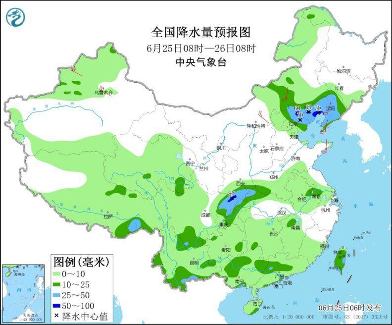 长江中下游迎新一轮较强降水 华北和东北多雷阵雨天气