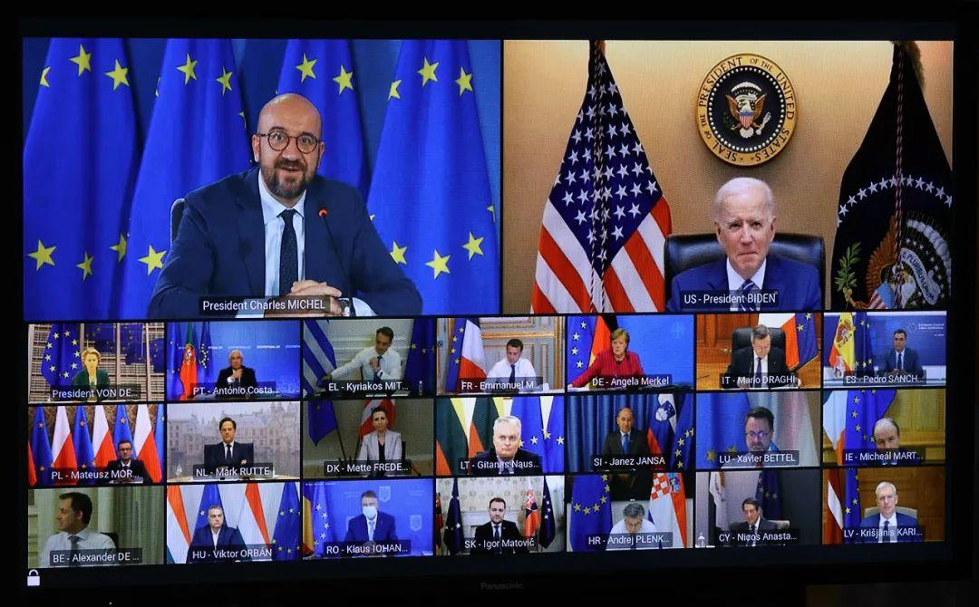 ▲资料图:当地时间2021年3月25日,比利时首都布鲁塞尔,欧洲理事会主席米歇尔以线上视频的方式出席欧盟峰会。(人民视觉)