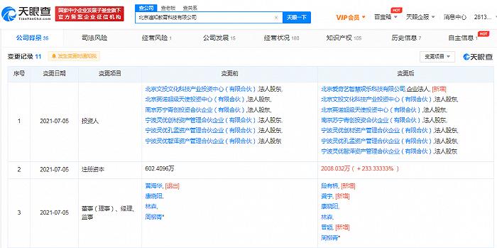爱奇艺关联公司入股遍知教育,龚宇出任董事长