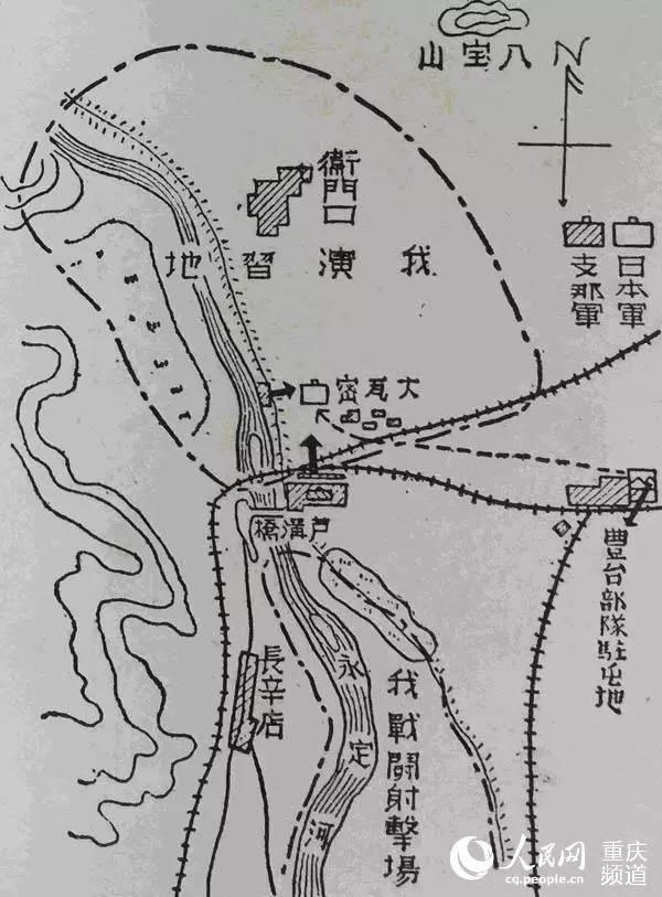 日军绘制的卢沟桥地区形势地图
