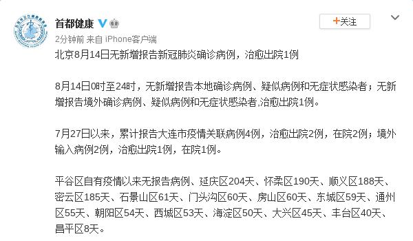 北京14日无新增报告新冠肺炎确诊病