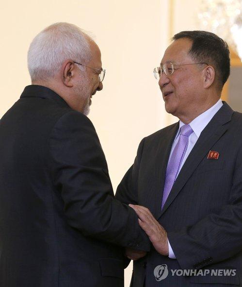 朝鲜外相李勇浩与伊朗外长扎里夫会面(韩联社)